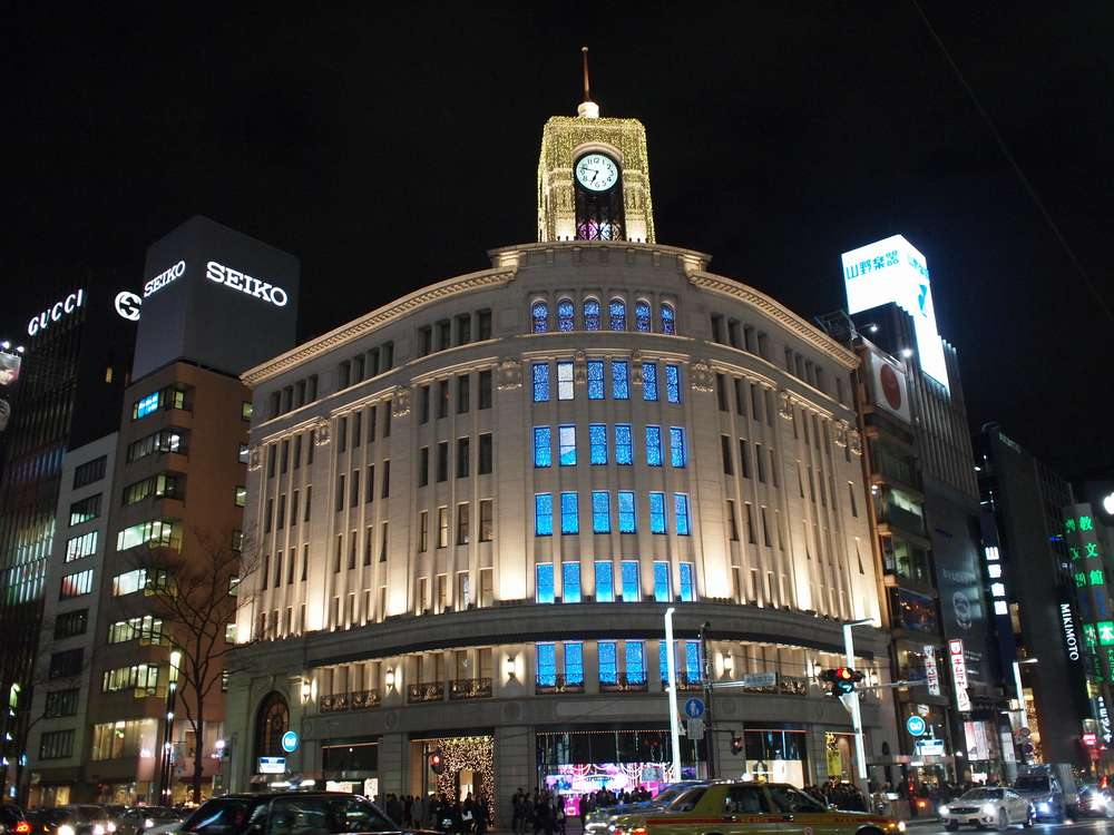 10.12.24撮影 銀座和光のイルミネーション【WAKOツリー:青】